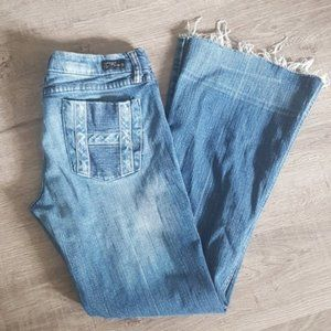 COH flare and frayed low rise jeans